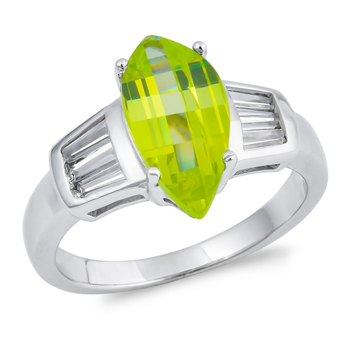 Audrey's Silver Ring with Peridot, Clear CZ