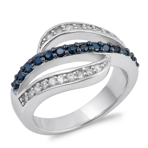 Alma's Silver Ring with Black, Clear CZ