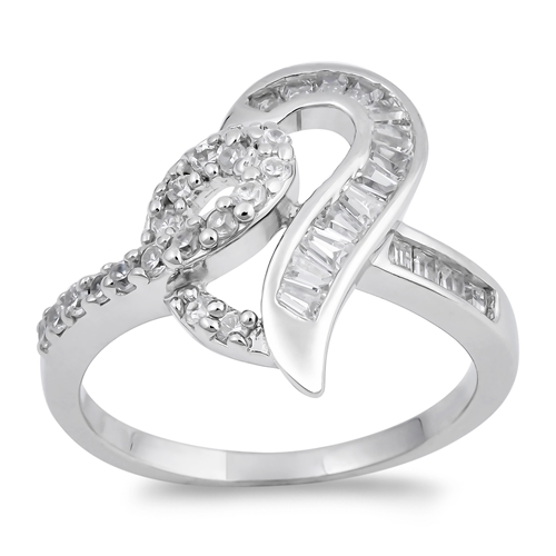 Anita's Silver Ring with Clear CZ - Heart