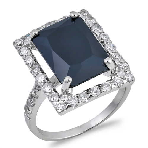 Hazel's Silver Ring with Black, Clear CZ
