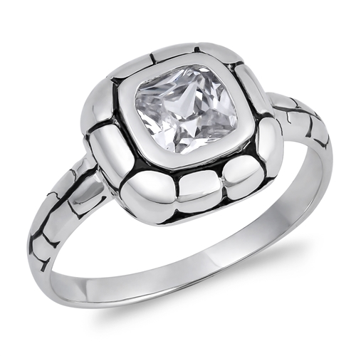 Eva's Silver Ring with Clear CZ