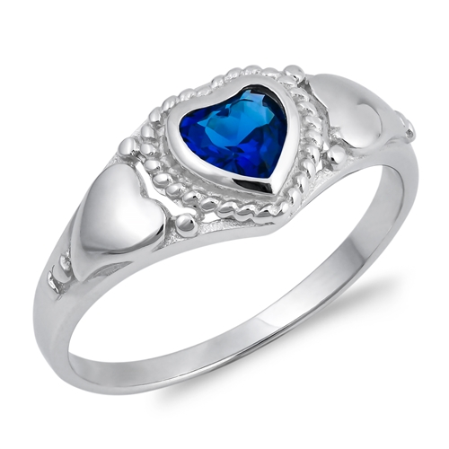 Emma&#039;s Silver Ring with Blue Sapphire CZ - Heat