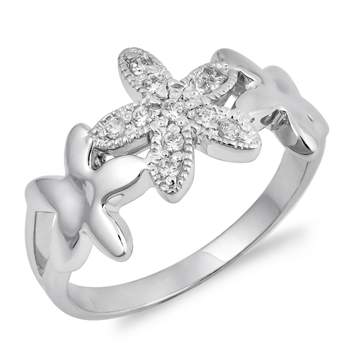 Norma's Silver Ring with Clear CZ - Star