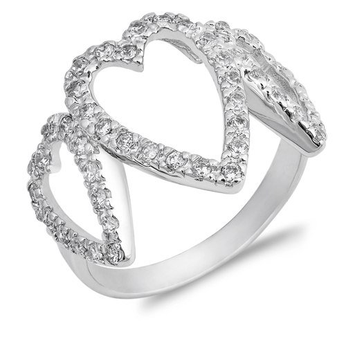 Judy's Silver Ring with Clear CZ - Heart