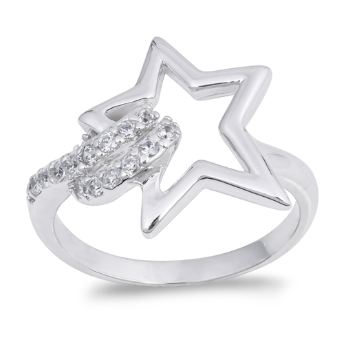 Denise's Silver Ring with Clear CZ - Star