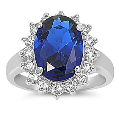 Katherine's Silver Ring with Blue Sapphire Spinal, Clear  CZ