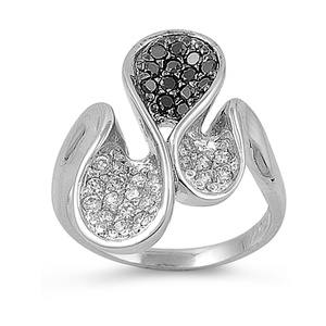 Doris's Silver Ring with Black, Clear CZ