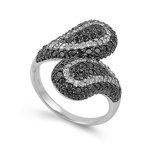 Gloria's Silver Ring with Black, Clear CZ