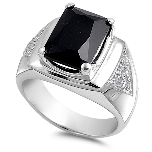 Willie's Silver Men's Ring with Clear / Black CZ