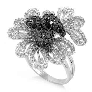 Naomi's Silver Ring with Black, Clear CZ