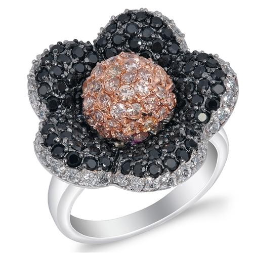 Vanessa's Silver Ring with Multicolor CZ - Plumeria