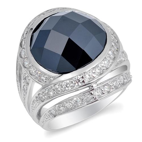 Geraldine's Silver Ring with Black CZ