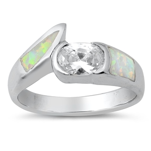 Silver Ring w/Lab Opal 11