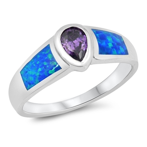Silver Ring w/Lab Opal 101