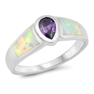 Silver Ring w/Lab Opal 102
