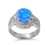 Silver Ring w/Lab Opal 159