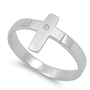 Darlene's Silver Ring with Clear CZ - Cross