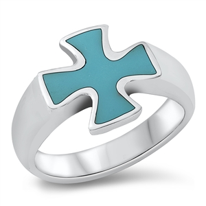 Eva's Silver Ring with Turquoise Stone - Cross