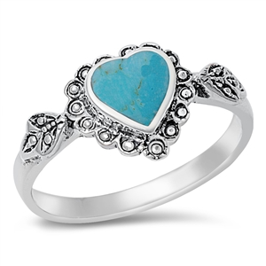 Josephine's Silver Ring with Heart Turquoise Stone