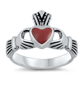 Annie's Silver Ring with Red Heart Stone - Claddagh
