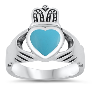 Irene's Silver Ring with Turquoise Stone - Claddagh