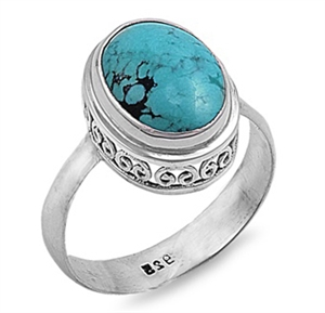 Gloria's Silver Ring with Turquoise Stone