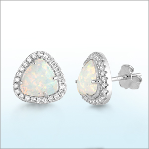 Lab Created Opal Earrings