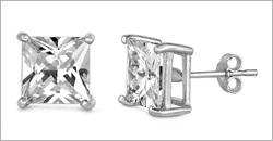 Square Clear CZ Casting Earrings