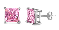 Square Casting Color CZ Stud Earrings