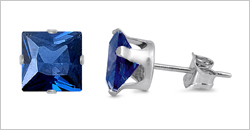 Square Color CZ Stud Earrings